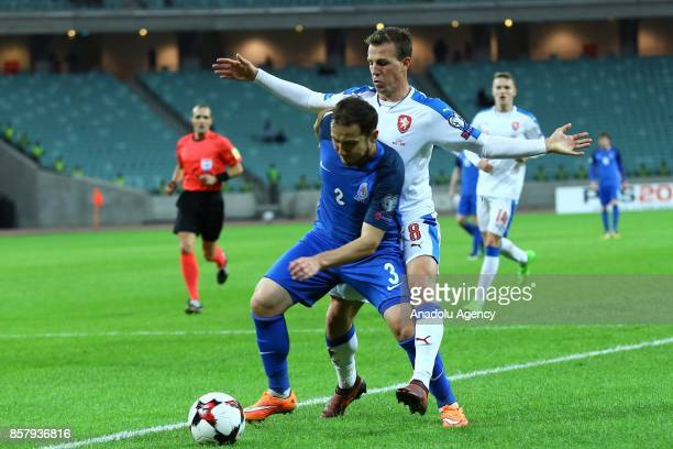 Magomed Mirzebekov of Azerbaijan in action against Vladimir Darida of Czech Republic during the 2018 FIFA World Cup European Qualification match...
