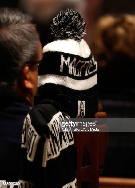 Magpies beanie is seen during the former Collingwood legend Lou Richards state funeral at St Paul's Cathedral on May 17 2017 in Melbourne Australia