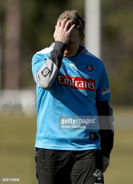 Magpies coach Nathan Buckley is seen during a Collingwood Magpies AFL media opportunity at the Holden Centre on August 10 2017 in Melbourne Australia
