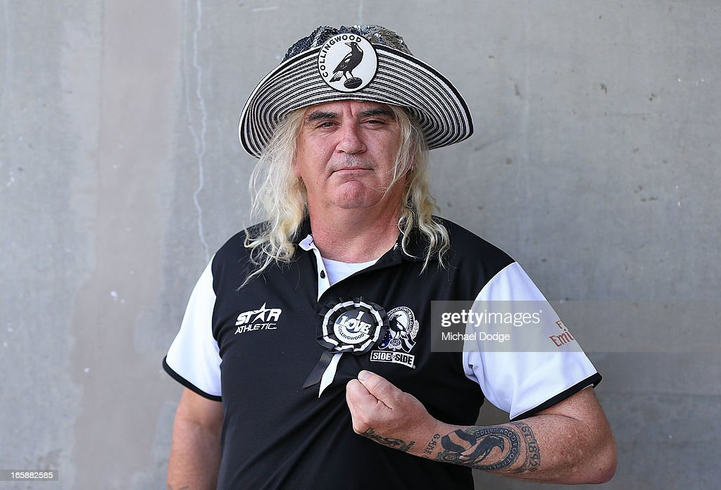 Magpies fan Joffa Corfe shows his support during the round two AFL match between the Collingwood Magpies and the Carlton Blues at Melbourne Cricket Ground on April 7, 2013 in Melbourne, Australia.