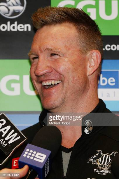Magpies head coach Nathan Buckley reacts when speaking during a Collingwood Magpies AFL media opportunity at the Holden Centre on July 25 2017 in...