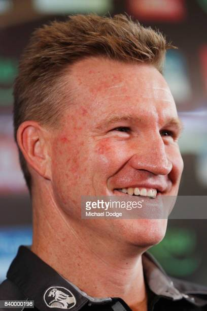 Magpies head coach Nathan Buckley reacts when speaking to the media during a Collingwood Magpies AFL press conference at the Holden Centre on August...
