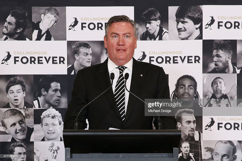 Magpies President Eddie McGuire speaks during the Collingwood Magpies AFL season launch at the Westpac Centre on March 11 2014 in Melbourne Australia