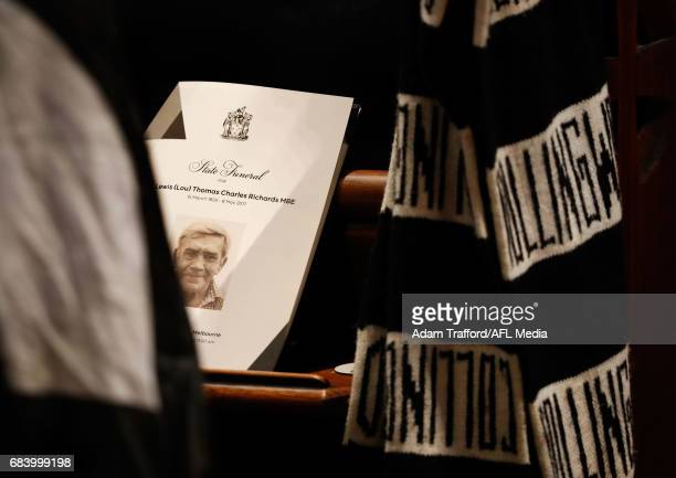 Magpies scarve is seen during the former Collingwood legend Lou Richards state funeral at St Paul's Cathedral on May 17 2017 in Melbourne Australia