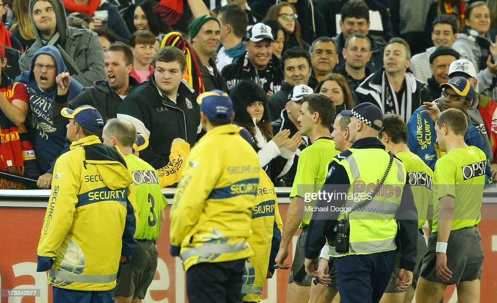 A Magpies supporter reacts at the umpires after the round 16 AFL match between the Collingwood Magpies and the Adelaide Crows at Melbourne Cricket Ground on July 12, 2013 in Melbourne, Australia.