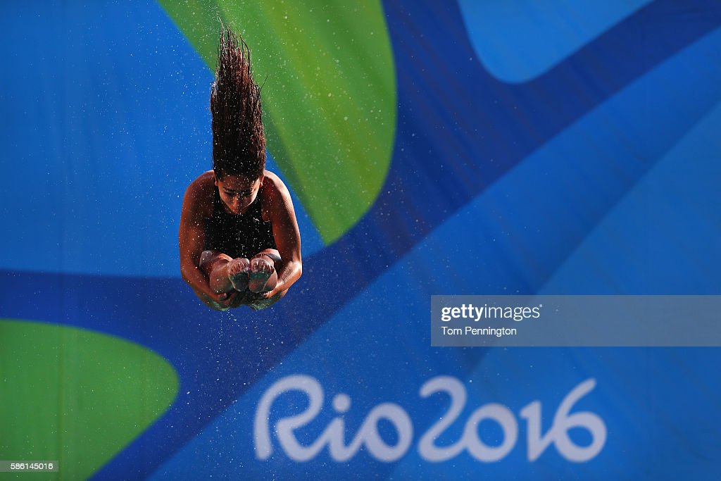 Maha Amer of Egypt practices during training at the Maria Lenk Aquatics Centre on August 5 2016 in Rio de Janeiro Brazil