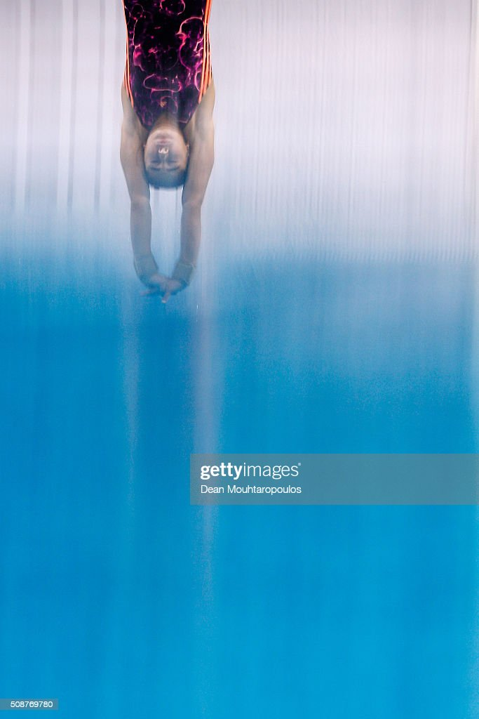 Maha Khaled Eissa of Egypt competes in the Womens Open Platform during the Senet Diving Cup held at Pieter van den Hoogenband Swimming Stadium on February 6, 2016 in Eindhoven, Netherlands.