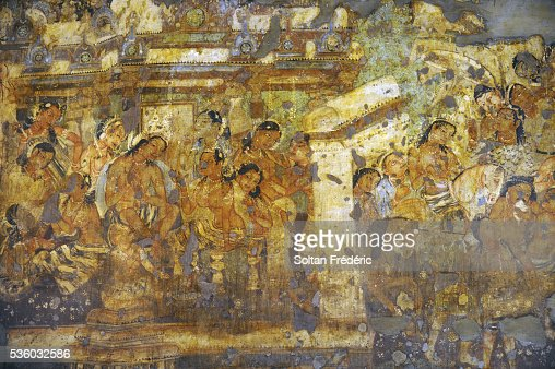 Mahajanaka jataka mural painting at ajanta cave 1 stock for Ajanta mural painting