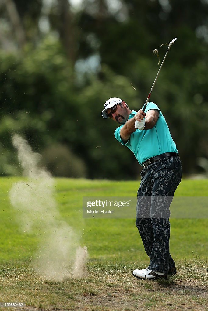Mahal Pearce of New Zealand plays a shot during day three of the New Zealand Open Championship at Clearwater Golf Course on November 24, 2012 in Christchurch, New Zealand.