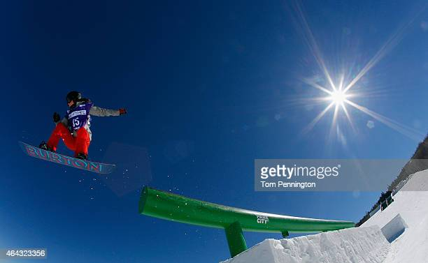 Mahalah Mullins of Australia during practice for the FIS Snowboard World Cup 2015 Ladies' Ski Slopestyle during the USA Grand Prix at Park City...