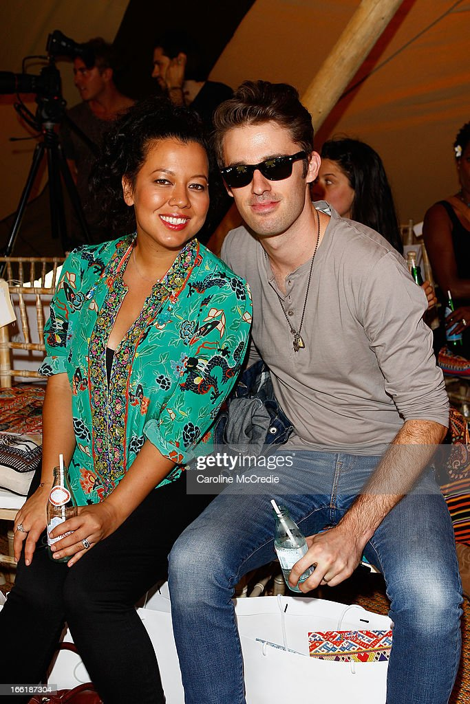 Mahalia Barnes and Ben Rodgers attend the Camilla show during Mercedes-Benz Fashion Week Australia Spring/Summer 2013/14 at Centennial Park on April 10, 2013 in Sydney, Australia.