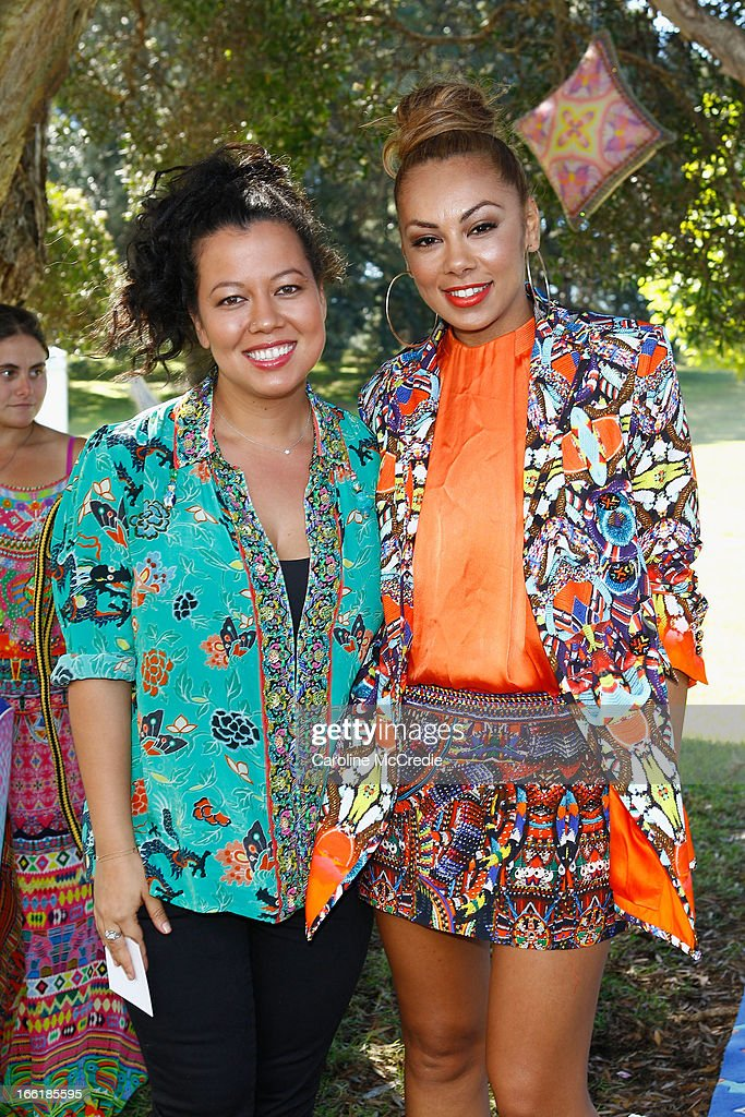 Mahalia Barnes and Prinnie Stevens attend the Camilla show during Mercedes-Benz Fashion Week Australia Spring/Summer 2013/14 at Centennial Park on April 10, 2013 in Sydney, Australia.