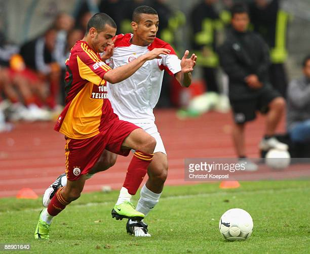 Mahamadou N'Diaye of Wydad AC Casablanca tackles Serdar Eyilik of Galatasaray during the Zayon Cup match between Galatasaray Istanbul and Wydad AC...