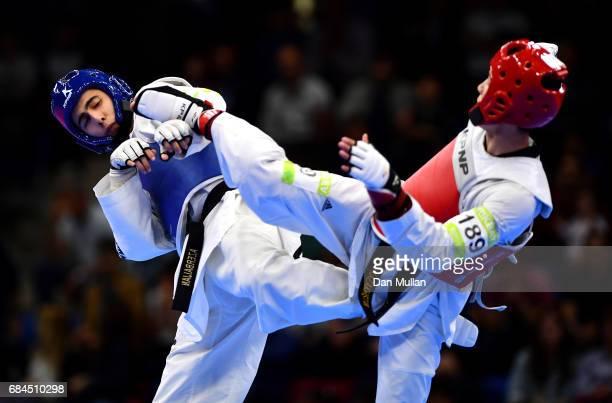 Mahammad Mammadov of Azerbaijan competes against Alimzhan Serikbayev of Kazakhstan in the Mens Taekwondo 63kg Semi Final during day seven of Baku...