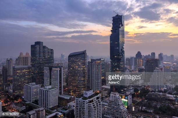 Mahanakhon tower in Bangkok during sunset, Thailand , Asia