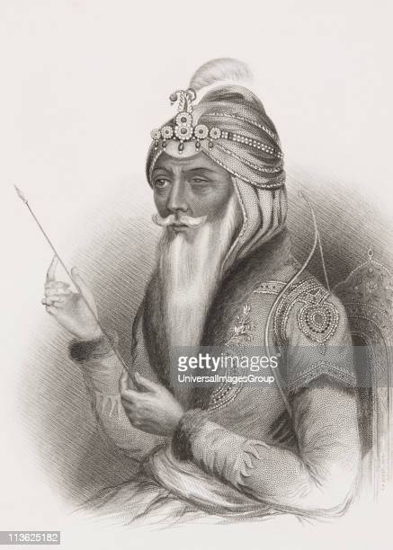 Maharaja Ranjit Singh 1780 1839 also called SherePunjab or The Lion of the Punjab From the book Gallery of Historical Portraits published c1880