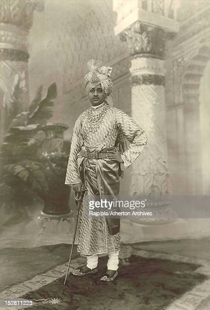 Maharajah Vijayasinhji of Rajpipla in princely attire at Vijay Palace Rajpipla Gujarat India February 1917