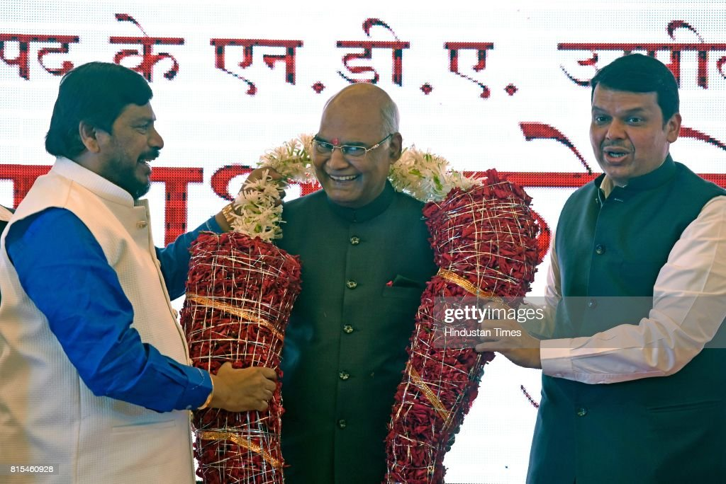 Maharashtra Chief Minister Devendra Fadnavis and leader of Republican Party Ramdas Athawale greet NDA Presidential candidate Ramnath Kovind, at Garware Club, Marine Drive, on July 15, 2017, in Mumbai, India. The voting for the presidential election is scheduled on July 17 and the counting will take place on July 20, four days before President Pranab Mukherjee's term ends.