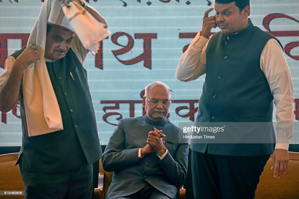 Maharashtra Chief Minister Devendra Fadnavis and Union Minister Nitin Gadkari with NDA Presidential candidate Ramnath Kovind, at Garware Club, Marine Drive, on July 15, 2017, in Mumbai, India. The voting for the presidential election is scheduled on July 17 and the counting will take place on July 20, four days before President Pranab Mukherjee's term ends.