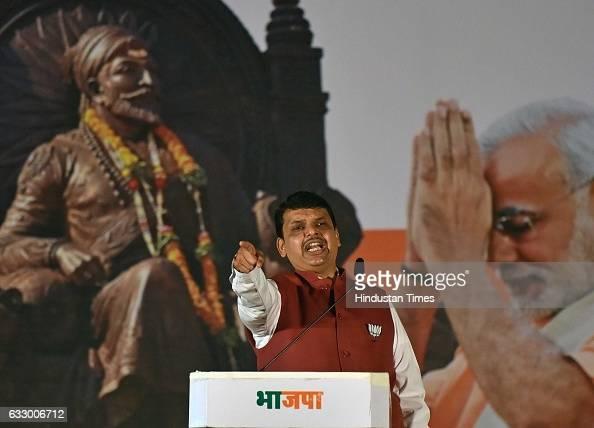 Maharashtra Chief Minister Devendra Fadnavis during a BJP rally as part of 'Vijay Sankalp Melava' at Goregaon on January 28 2017 in Mumbai India...