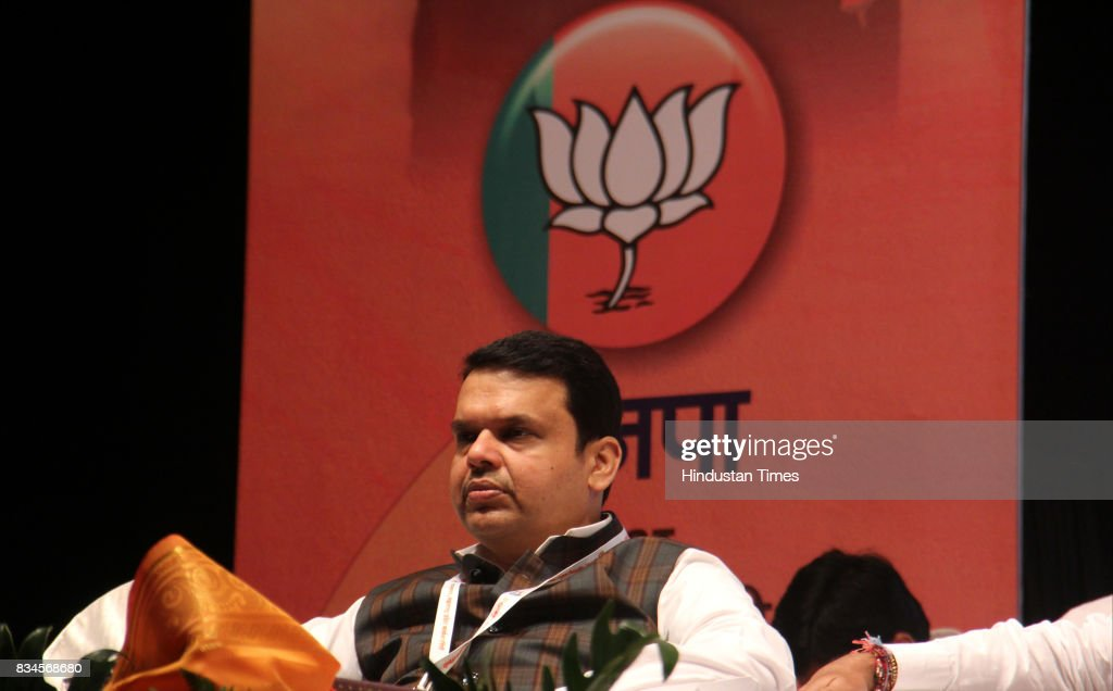 Maharashtra Chief Minister Devendra Fadnavis during the BJP state executive meeting at Prabhodhankar Thackeray Hall, Borivali, on August 17, 2017 in Mumbai, India. With good performance in all local polls this year, Fadnavis announced that the party should expand its presence across the state by re-organising and connecting with voters in 90,000 electoral booths in Maharashtra.