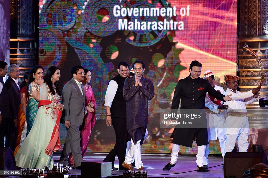 Maharashtra Chief Minister Devendra Fadnavis, Governor C Vidyasagar Rao and Shiv Sena chief Uddhav Thackeray during a 'Make in India week' cultural programme at Maharashtra Night at Girgaum Chowpatty on February 14, 2016 in Mumbai, India. The fire broke out almost 10 minutes after Maharashtra CM Devendra Fadnavis delivered his speech at the event, during a lavani performance. The stage collapsed under the impact of the fire. However, no casualties were reported and the venue, at the Girgaum Chowpatty area, was evacuated very soon. Around 16 fire tenders put out the fire in 10 minutes. No casualties have been reported yet. Prime Minister Modi had inaugurated the Make in India Week yesterday as a showcase event for the government's flagship manufacturing scheme.