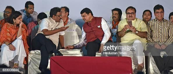 Maharashtra Chief Minister Devendra Fadnavis with party leaders during a BJP rally as part of 'Vijay Sankalp Melava' at Goregaon on January 28 2017...