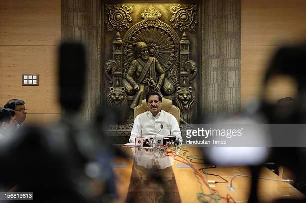 Maharashtra Chief Minister Prithviraj Chavan addressing media after the hanging of 26/11 terrorist Ajmal Kasab on November 21 2012 in Mumbai India...