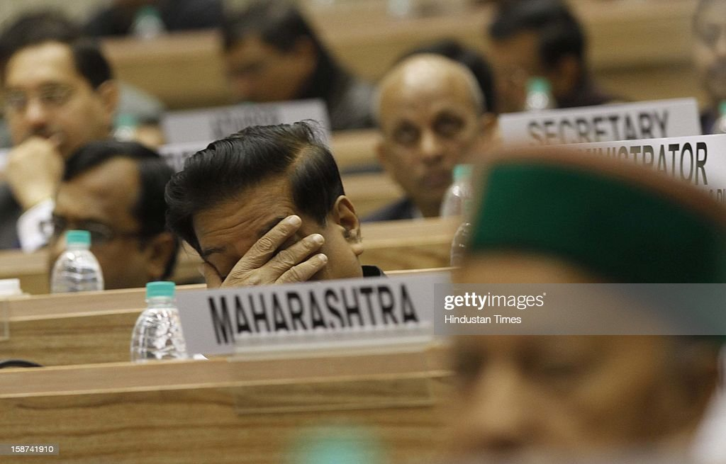 Maharashtra Chief Minister Prithviraj Chavan takes a nap at the 57th National Development Council (NDC) meeting at Vigyan Bhawan on December 27, 2012 in New Delhi, India.