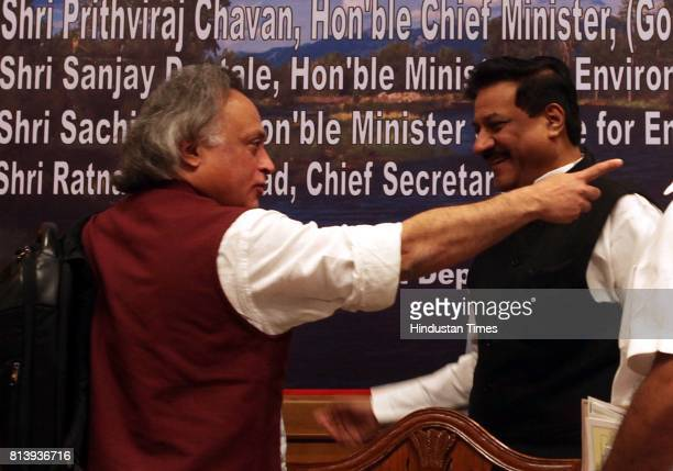 Maharashtra chief minister Prithviraj Chavan with the Environment Minister of India Jairam Ramesh during the press conference at Sahyadri Guest House...