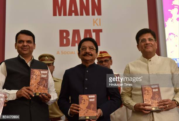 Maharashtra CM Devendra Fadnavis Governor Vidyasagar Rao and Union Minister of State Piyush Goyal during the release of book 'Mann Ki Baat A social...