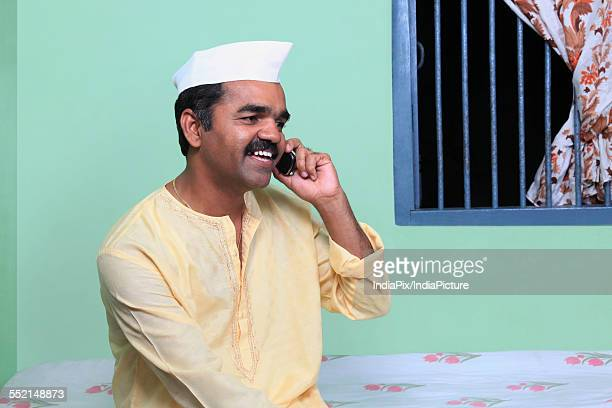 Maharashtrian man talking on a mobile phone