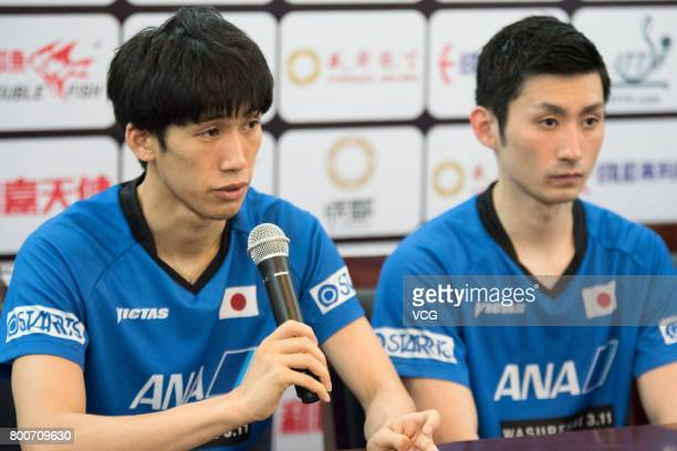 Maharu Yoshimura and Jin Ueda of Japan attend a press conference after beating Tomokazu Harimoto and Koki Niwa of Japan in Men's doubles final match...