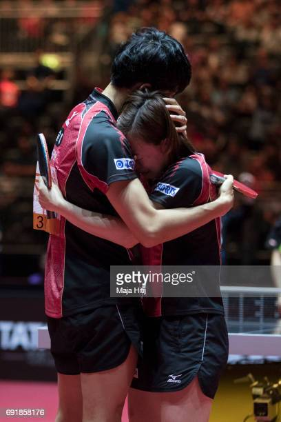 Maharu Yoshimura of Japan and Kasumi Ishikawa of Japan celebrate after winning Mixed Doubles Finals at Table Tennis World Championship at Messe...