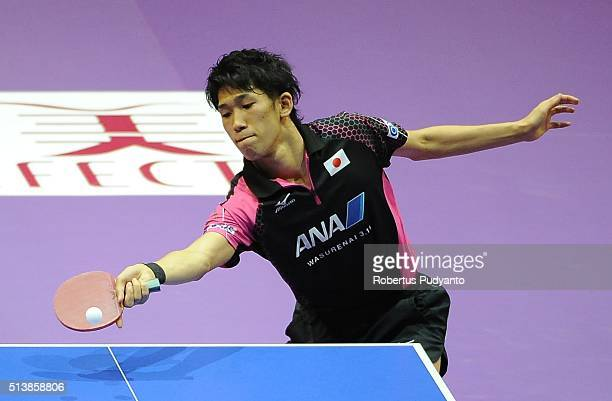 Maharu Yoshimura of Japan competes against Liam Pitchford of England during the 2016 World Table Tennis Championship Men's Team Division semifinal...