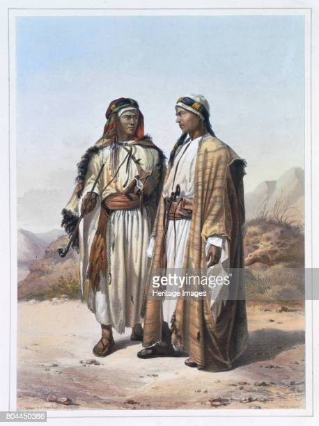 A Mahazi and a Soualeh Bedouin 1848 Illustration from The Valley of the Nile by Emile Prisse d'Avennes Artist Charles Bour