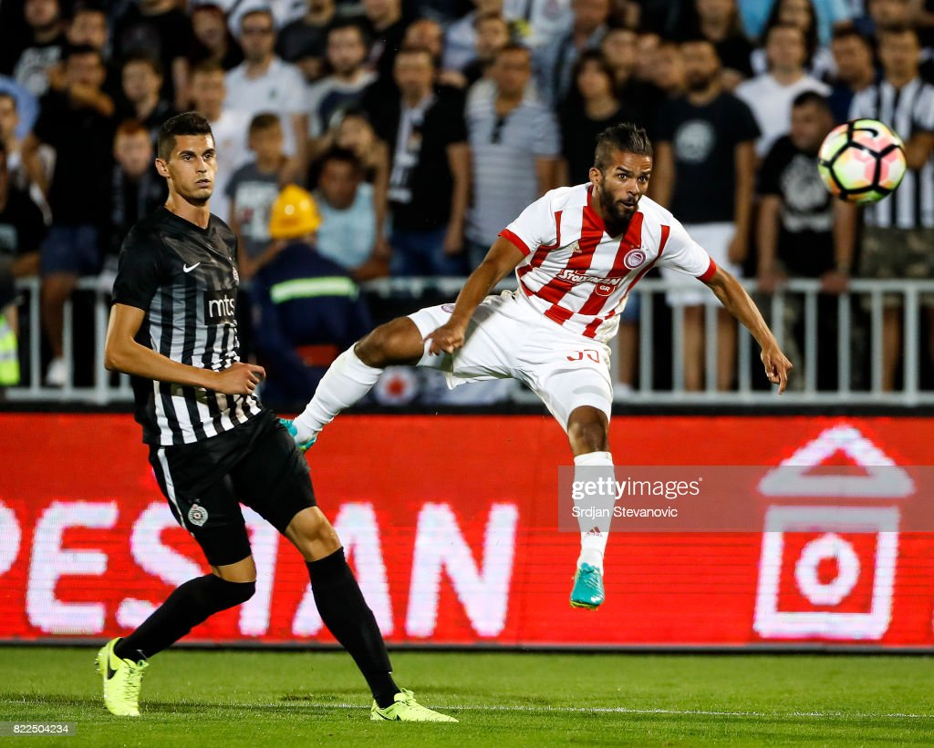 Mahdi Carcela-Gonzales (R) of Olympiacos in action against Lazar Cirkovic (L) of Partizan the UEFA Champions League Qualifying match between FC Partizan and Olympiacos on July 25, 2017 in Belgrade, Serbia.