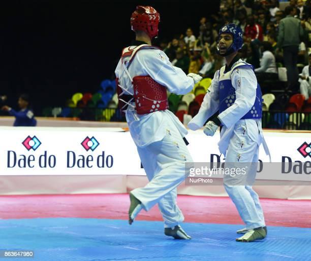 Mahdi Pourrahnamai of Iran against Ilia Volkov of Russia in the K44 Male K44 75 Match 112 during 7th World Para Taekwondo Championships 2017 at...