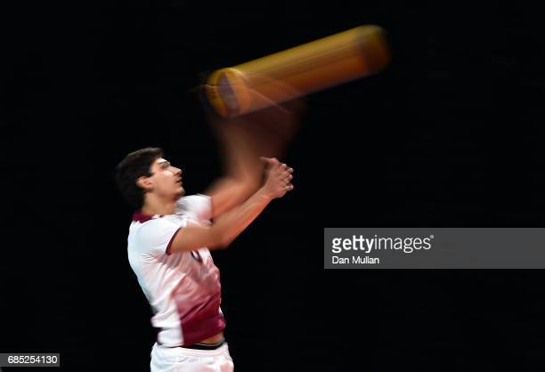 Mahdi Sammoud of Qatar serves in the Mens Volleyball Group B match between Qatar and Morocco during day eight of Baku 2017 4th Islamic Solidarity...