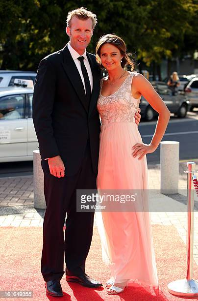 Mahe Drysdale and Julietter Haigh attend the 2013 Halberg Awards at Vector Arena on February 14 2013 in Auckland New Zealand