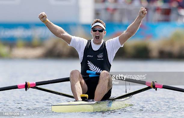 Mahe Drysdale of New Zealand celebrates winning the gold medal for the men's rowing single sculls on Day 7 of the London 2012 Olympic Games at Eton...
