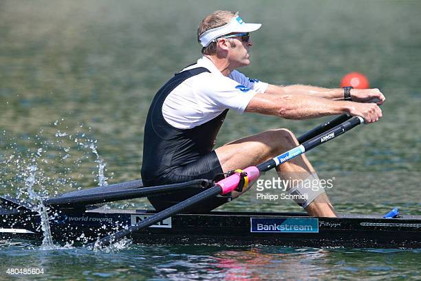 Mahe Drysdale of New Zealand rows to victory in the Men's Single Sculls Final A during Day 3 of the 2015 World Rowing Cup III on Lucerne Rotsee on...