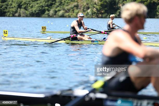 Mahe Drysdale of the NZ Summer Squad prepares to compete in the men's premier single sculls final during the Christmas Regatta 1 at Lake Karapiro on...