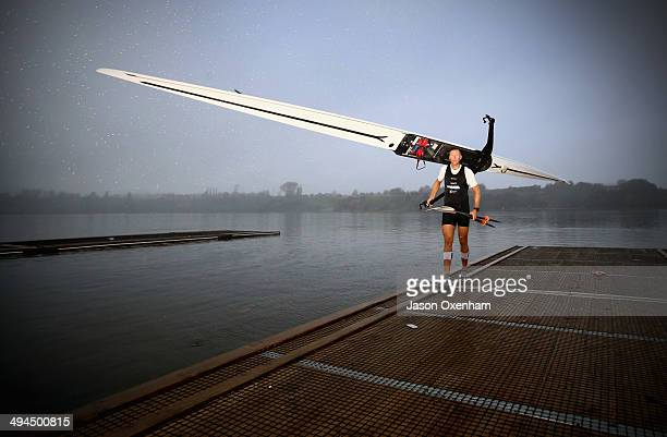 Mahe Drysdale returns from Winter Series Racing at Rowing New Zealand High Performance Centre Lake Karapiro on May 30 2014 in Cambridge New Zealand