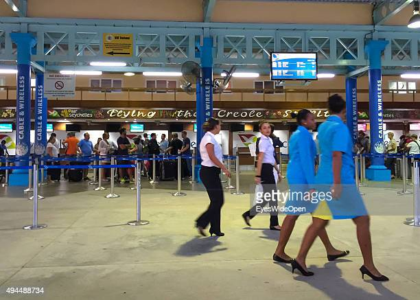 VICTORIA MAHE SEYCHELLES OCTOBER 04 2015 Mahe International Airport with tourists at departure to Abu Dhabi with Air Seychelles on October 04 2015 in...