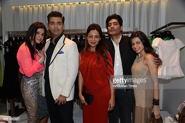 Maheep Kapoor Karan Johar Gauri Khan Manish Malhotra and Ambika Hinduja at the launch of Bandra 190 a luxury concept retail boutique coowned by...