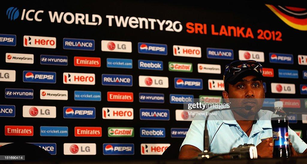 Mahela Jayawardena Captain of Sri Lanka talks to media during the Sri Lanka Press Conference ahead of the ICC T20 World Cup on September 10 2012 in...