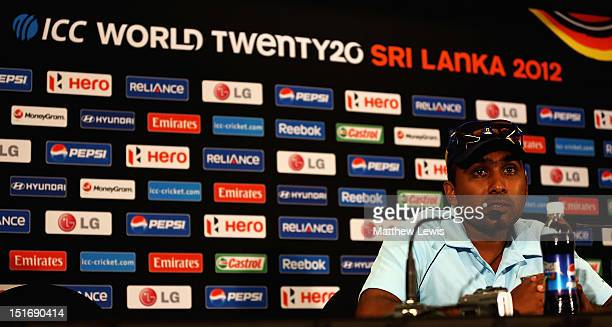 Mahela Jayawardena Captain of Sri Lanka talks to media during the Sri Lanka Press Conference ahead of the ICC T20 World Cup on September 10 2012 in...