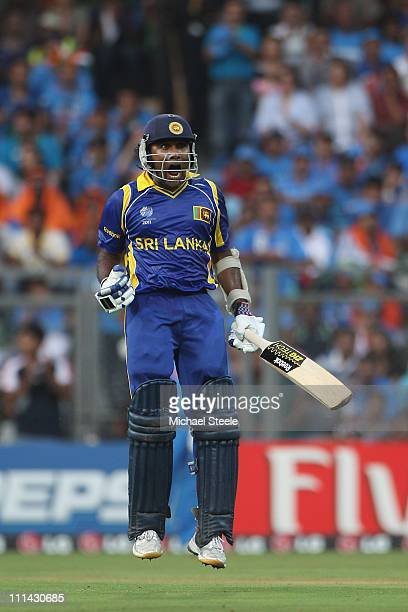 Mahela Jayawardena of Sri Lanka celebrates reaching his century during the 2011 ICC World Cup Final between India and Sri Lanka at Wankhede Stadium...