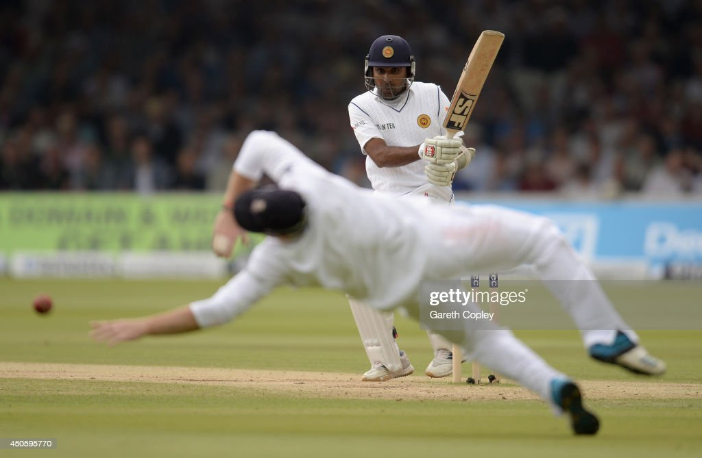 Mahela Jayawardena of Sri Lanka hits past Ian Bell of England during day three of 1st Investec Test match between England and Sri Lanka at Lord's Cricket Ground on June 14, 2014 in London, England.